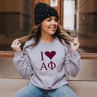 I Love Alpha Phi Crewneck Sweatshirt