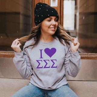 I Love Sigma Sigma Sigma Crewneck Sweatshirt