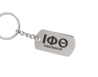 Iota Phi Theta Dog Tag Style Custom Keychain