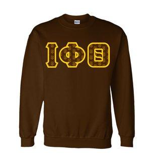 Iota Phi Theta Fraternity Crest - Shield Twill Letter Crewneck Sweatshirt