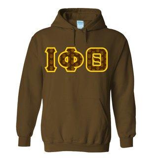 Iota Phi Theta Fraternity Crest - Shield Twill Letter Hooded Sweatshirt