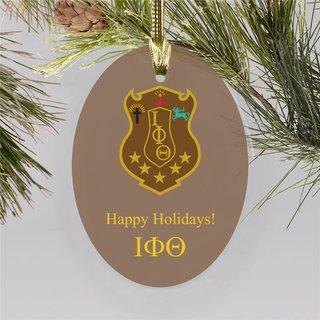 Iota Phi Theta Holiday Color Crest - Shield Ornament