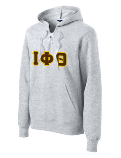 DISCOUNT-Iota Phi Theta Lace Up Pullover Hooded Sweatshirt