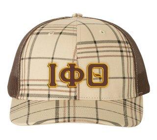 Iota Phi Theta Plaid Snapback Trucker Hat - CLOSEOUT