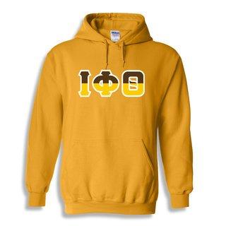 Iota Phi Theta Two Tone Greek Lettered Hooded Sweatshirt
