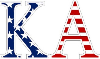 "Kappa Alpha American Flag Greek Letter Sticker - 2.5"" Tall"