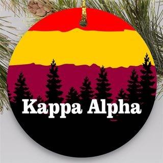 Kappa Alpha Christmas Mountains Round Ornaments