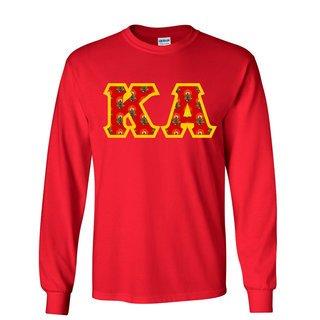 Kappa Alpha Fraternity Crest - Shield Twill Letter Longsleeve Tee