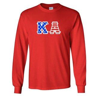 DISCOUNT-Kappa Alpha Greek Letter American Flag long sleeve tee
