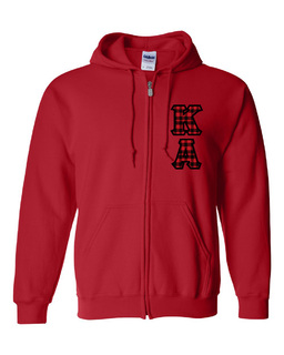 "Kappa Alpha Heavy Full-Zip Hooded Sweatshirt - 3"" Letters!"