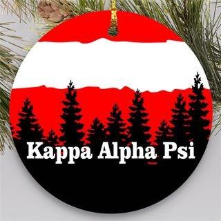 Kappa Alpha Psi Christmas Mountains Round Ornaments