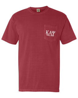Kappa Alpha Psi Greek Letter Comfort Colors Pocket Tee
