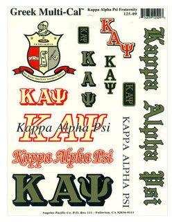 Kappa Alpha Psi Multi Greek Decal Sticker Sheet