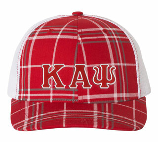 Kappa Alpha Psi Plaid Snapback Trucker Hat - CLOSEOUT