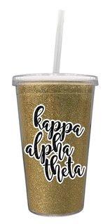 Kappa Alpha Theta 16 OZ Sorority Newport Glitter Tumbler