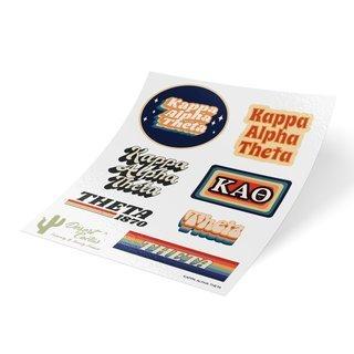 Kappa Alpha Theta 70's Sticker Sheet