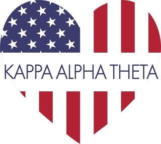 Kappa Alpha Theta American Flag Greek Heart Shaped Decal