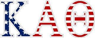 """Kappa Alpha Theta American Flag Greek Letter Sticker - 2.5"""" Tall"""