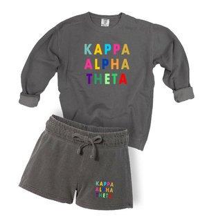 Kappa Alpha Theta Comfort Colors Crew and Short Set