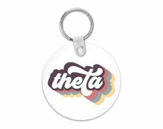 Kappa Alpha Theta Retro Script Keychain