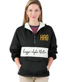 Kappa Alpha Theta Custom Stripe Script Pullover Anorak