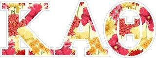 """Kappa Alpha Theta Floral Greek Letter Sticker - 2.5"""" Tall"""