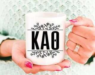 Kappa Alpha Theta Floral Letters Mug