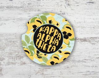 Kappa Alpha Theta Floral Sandstone Car Cup Holder Coaster