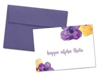 Kappa Alpha Theta Floral Script Notecards(6)