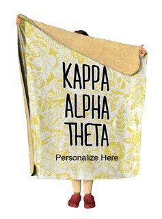Kappa Alpha Theta Floral Sherpa Lap Blanket
