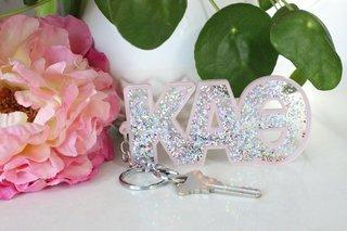 Kappa Alpha Theta Glitter Keychain