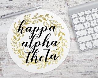 Kappa Alpha Theta Gold Wreath Mousepad