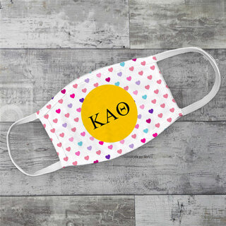 Kappa Alpha Theta Hearts Face Mask