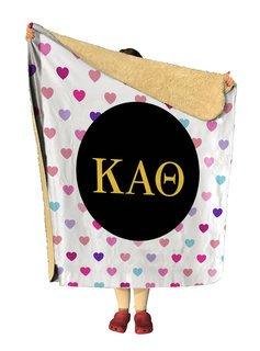 Kappa Alpha Theta hearts Sherpa Lap Blanket