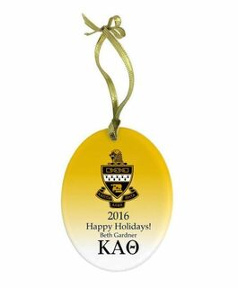 Kappa Alpha Theta Holiday Color Crest - Shield Glass Ornament
