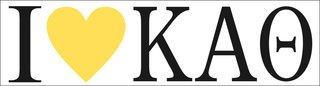 Kappa Alpha Theta I Love Bumper Sticker
