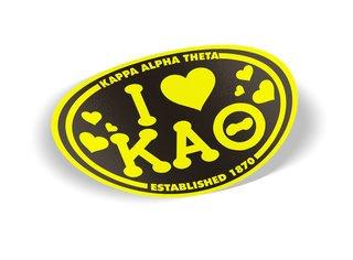 Kappa Alpha Theta I Love Sorority Sticker - Oval