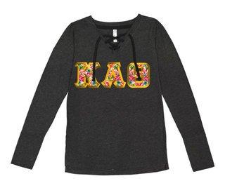 Kappa Alpha Theta LAT - Sorority Fine Jersey Lace-Up Long Sleeve T-Shirt