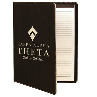 Kappa Alpha Theta Leatherette Mascot Portfolio with Notepad