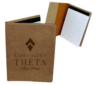 Kappa Alpha Theta Mascot Leatherette Portfolio with Notepad