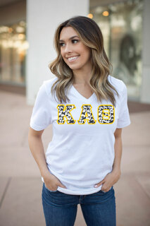 DISCOUNT-Kappa Alpha Theta Lettered V-Neck Tee