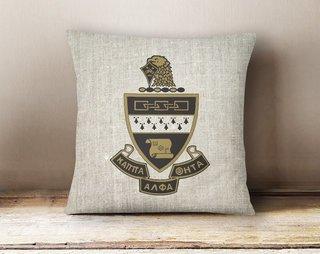 Kappa Alpha Theta Linen Crest - Shield Pillow
