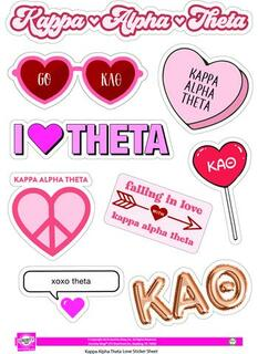 Kappa Alpha Theta Love Theme Stickers
