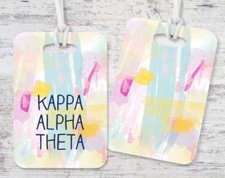 Kappa Alpha Theta Watercolor Luggage Tag