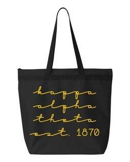 Kappa Alpha Theta New Script Established Tote Bag