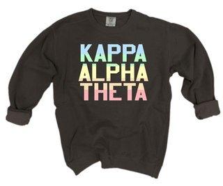 Kappa Alpha Theta Pastel Rainbow Crew - Comfort Colors