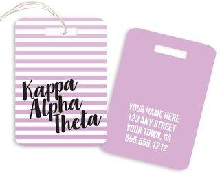 Kappa Alpha Theta Personalized Striped Luggage Tag