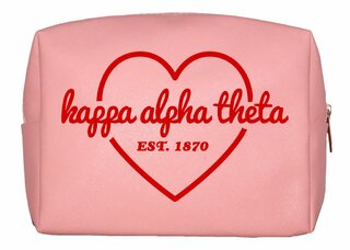 Kappa Alpha Theta Pink with Red Heart Makeup Bag