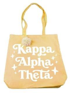 Kappa Alpha Theta Retro Pom Pom Tote Bag