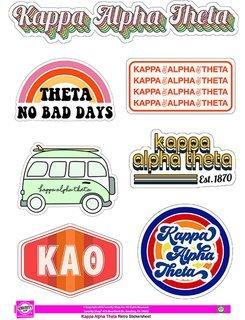 Kappa Alpha Theta Retro Sticker Sheet